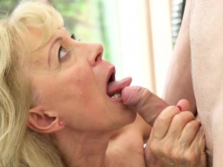 Creampied grandma sucking