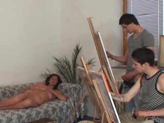 Two young painters fuck her old pussy