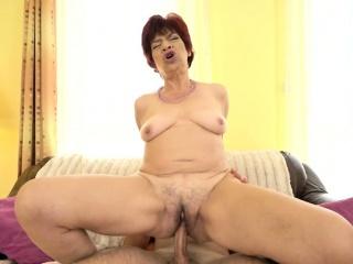 Horny grandma jizzed on