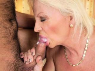 Pensioner blows hard cock