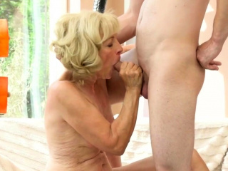 Tongued granny creampied