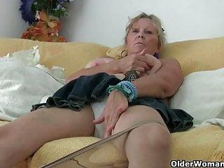 Grandma with big tits masturbates and gets finger fucked