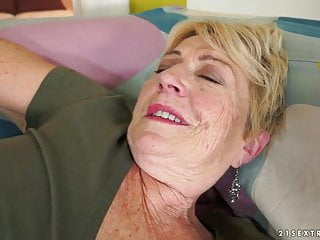 Granny's hair pussy covered with cum