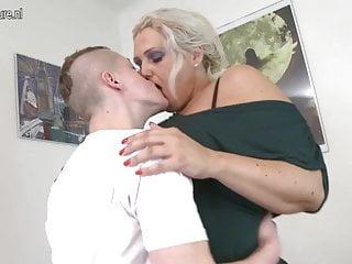Mature 55YO mother fucks her son's friend