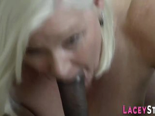 Grandma titfucks sucks and rides black cock