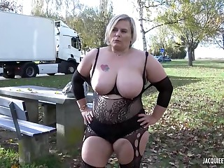 BBW blonde in erotic lingerie and a handsome stranger are fucking like crazy in a public place