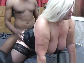 LACEYSTARR - Leather clad granny gets interracial spitroast