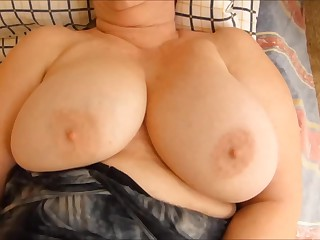 Fat granny playing with her really huge tits