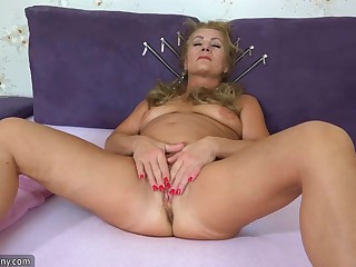 OldNanny Old mature doing striptease and masturbating pussy