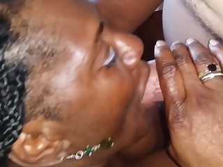 Black granny shows off panties then gives bj