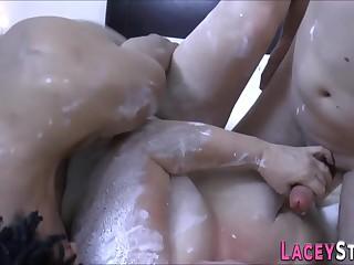 Busty gran sucks cock and fucks