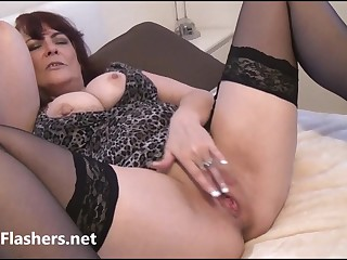 Voyeur granny in peeping upskirt masturbation of old pussy with mature amateur exhibitionist