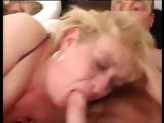 Blonde Grandma Threesome