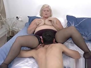 Titfucking busty granny