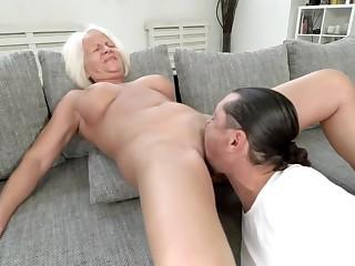 Blonde GILF Gets Her Old Cunt Destroyed