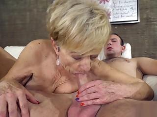 Fresh stud destroys grandmas pussy