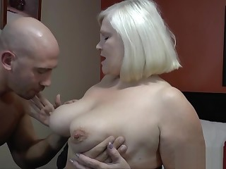Pussy eaten grandma sucks cock