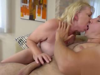 Old blonde gets her hairy twat plowed hard