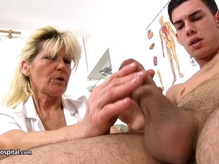 Mature blonde doctor, Renata is using every opportunity to play with a rock hard meat stick