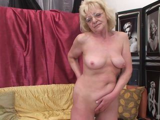 Naughty, Czech granny with blonde hair is sucking dick and getting fucked harder than ever before
