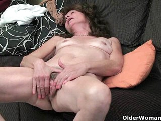 Skinny gilf touches her hairy cunt hole