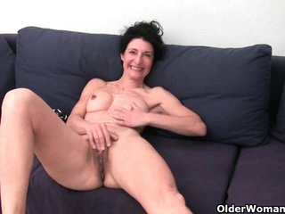 Hairy granny shows bushed cunt
